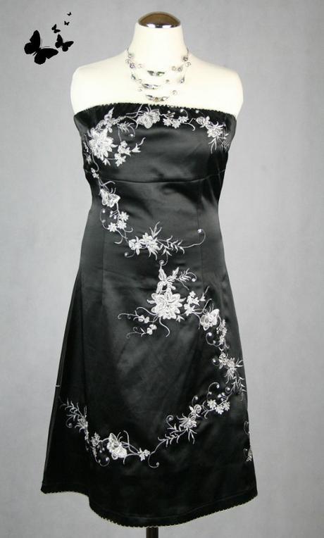 Černé společenské šaty s vyšíváním vel 34 - 36, 36