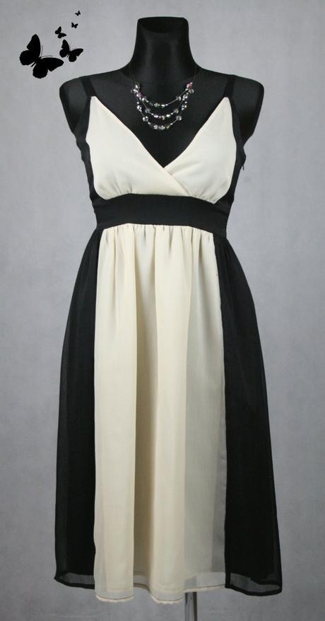 Černo-béžové šaty na ramínka vel. M, 40