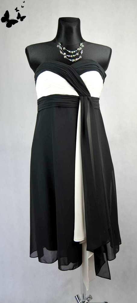 Černo-bílé Début koktejlové šaty vel 38, 38