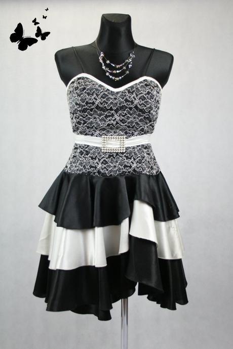 Černo-bílé šaty na ramínka vel 42, 42