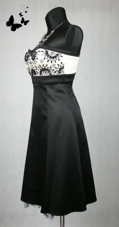 Černo-bílé společenské šaty s korálky vel 38, 38