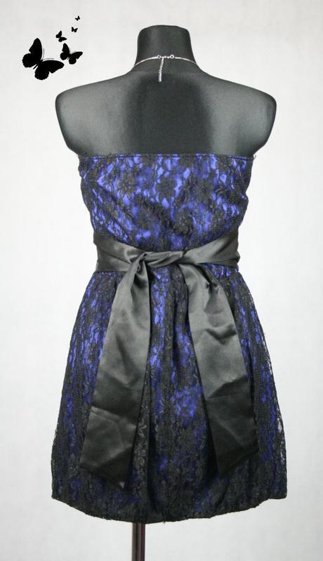 černo-modré společenské šaty s krajkou vel 40, 40