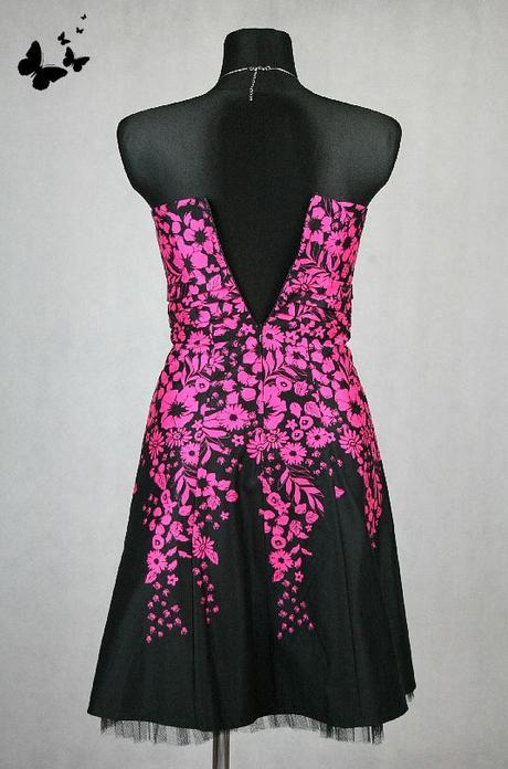 Černo-růžové koktejlové šaty vel 36-38, 36