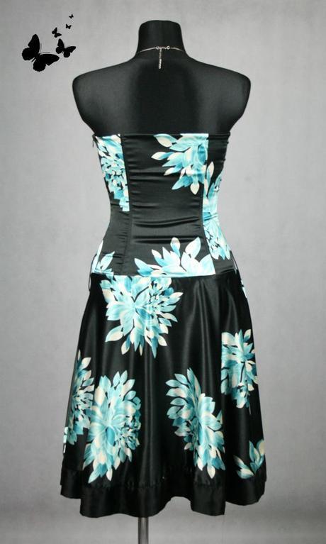 Černo - tyrkysové společenské šaty vel. 36-38, 38
