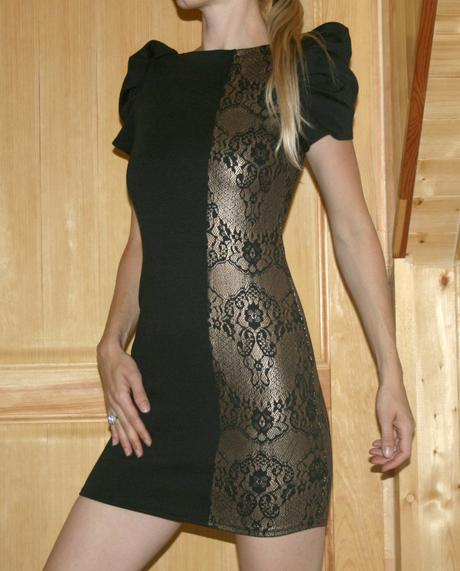 Černo-zlaté elastické šaty vel 36, 36