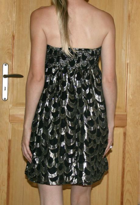 Černo-zlaté společenské šaty vel 38, 38