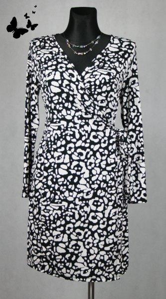 Černobílé elastické zavinovací  šaty vel 46, 46