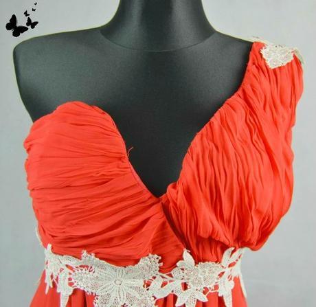 Červené dlouhé šaty s krajkou na jedno rameno vel , 44