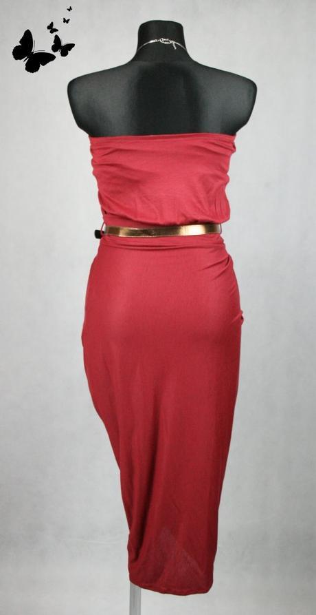 červené elastické šaty s páskem vel 38, 38
