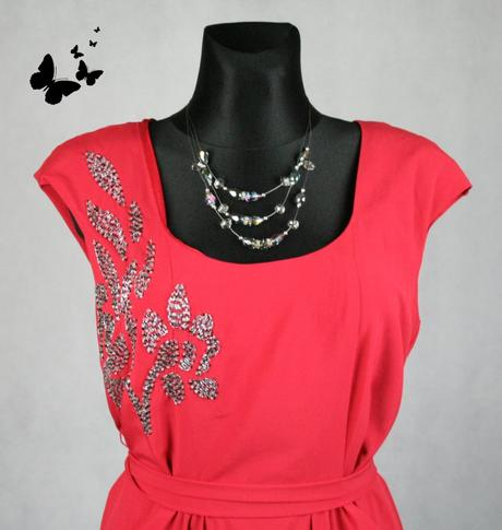 Červené šaty s kapsičkami vel 42, 42