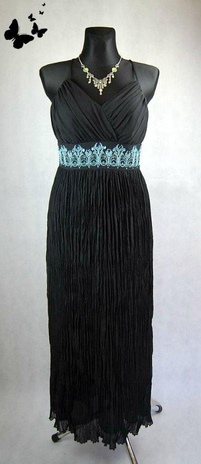 Dlouhé černé šaty na ramínka vel 38, 38