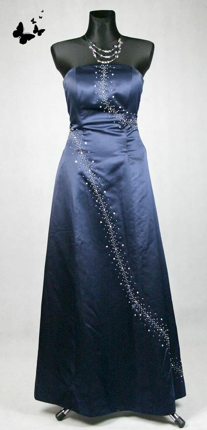 Dlouhé modravé společenské šaty vel 38, 38