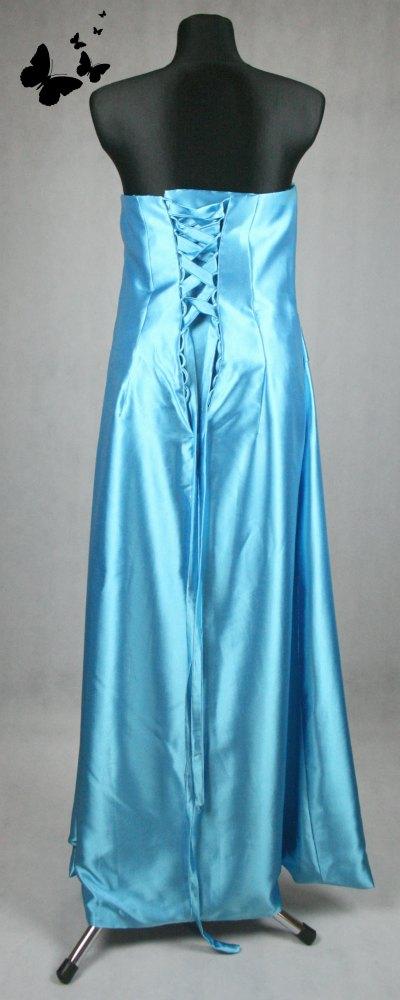 Dlouhé modré korzetové šaty vel 44, 44