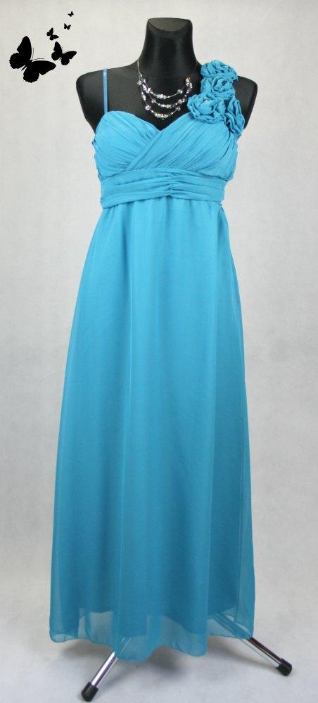 Dlouhé modré společenské šaty na jedno rameno vel , 38