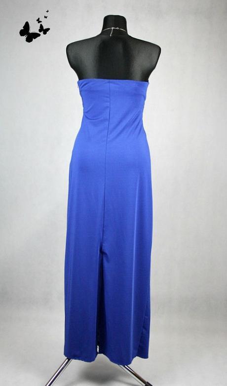 Dlouhé modré společenské šaty s kamínky vel. 36-38, 38