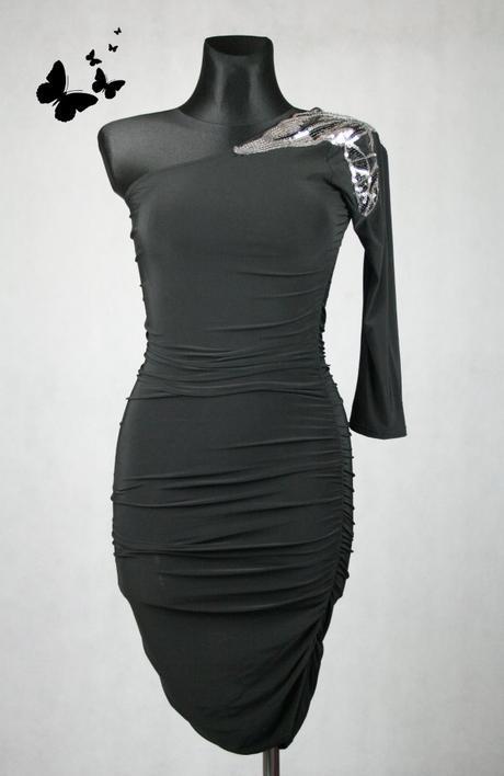 Elastické černé šaty na jedno rameno vel 36-38, 38
