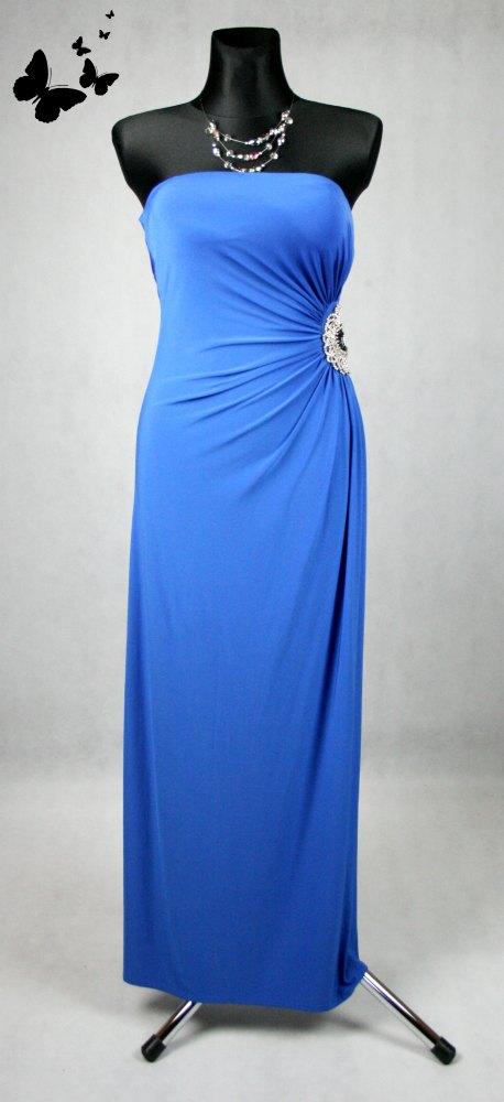 Elastické dlouhé společenské šaty s kamínky vel 38, 38