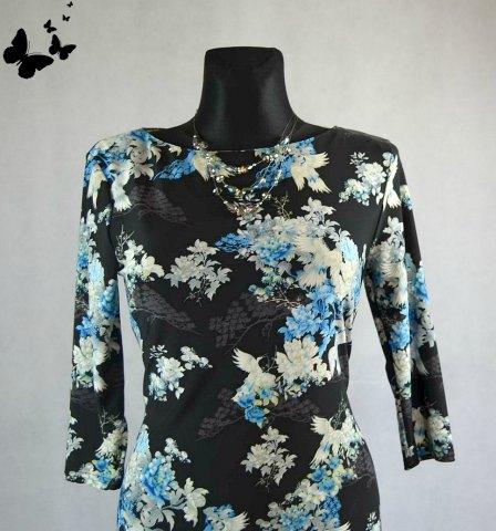 Elegantní šaty se vzorem ptáčků a kytek vel 40, 40