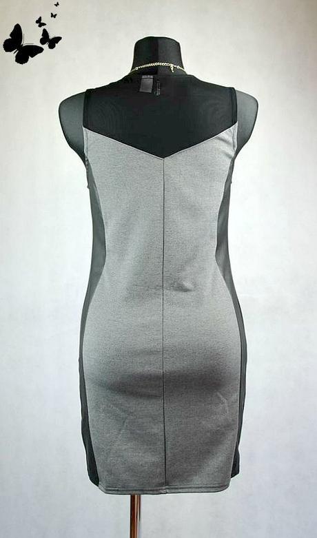 Elegantní šedé šaty s koženkou na boku vel M, 40
