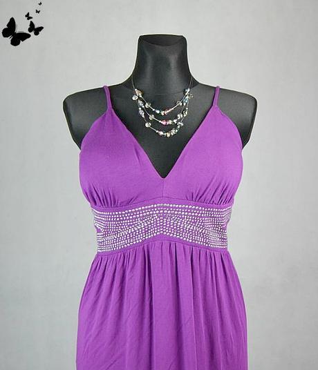 Fialkové šaty na ramínka vel 46, 46