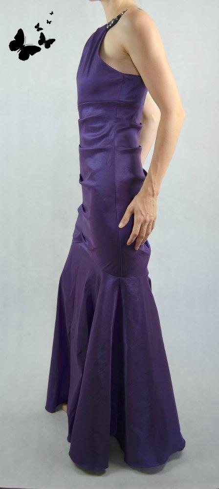 Fialové šaty styl mořská panna vel 38, 38