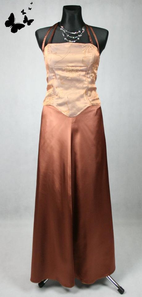 Hnědé dlouhé společenské dvoudílné šaty vel 40, 40