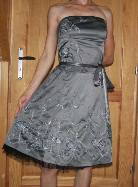Jane Norman šedé koktejlové šaty vel 42, 42