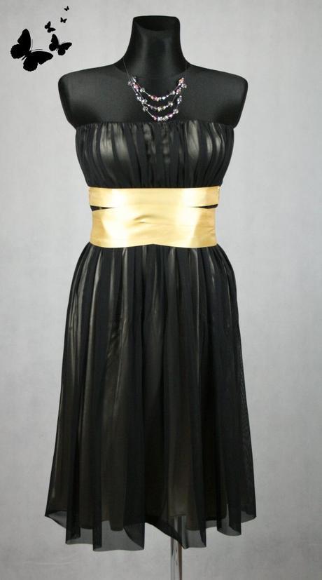Koktejlové černo-zlaté společenské šaty se stužkou, 38