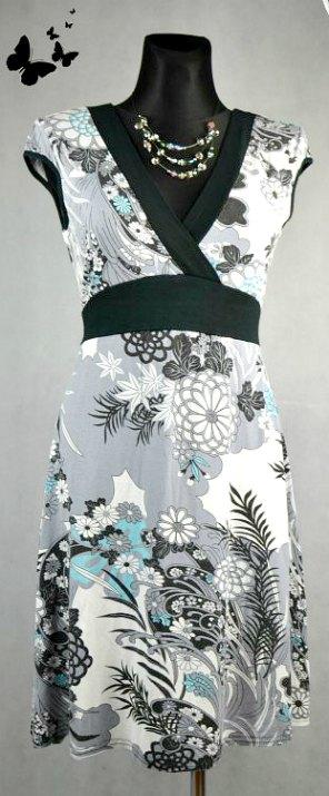 Květované šaty s krátkými rukávy vel 40, 40