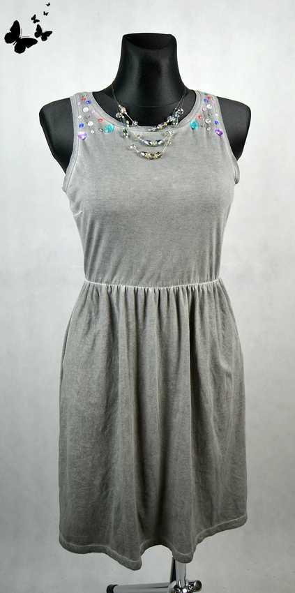 Lehké letní asymetrické šaty šedé vel 40, 40
