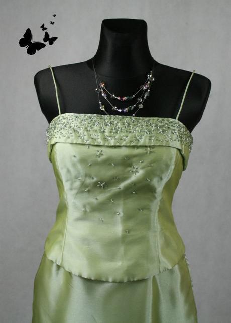 Leskle zelené dlouhé společenské šaty vel 38, 38