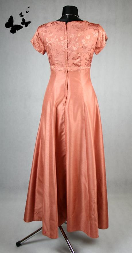 Lososové dlouhé společenské šaty s rukávy vel 38, 38