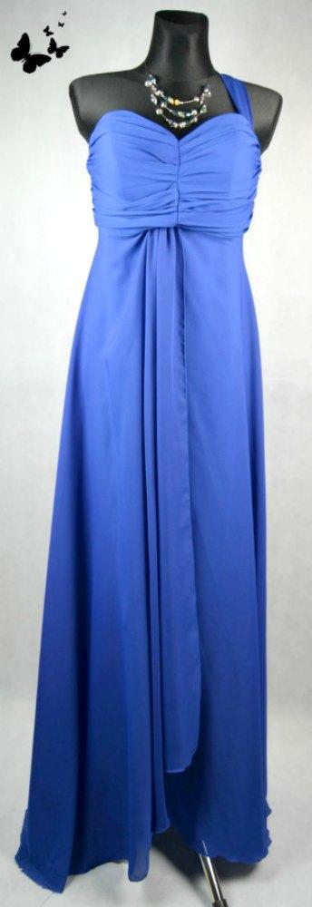 Modré dlouhé společenské šaty na jedno rameno vel , 44