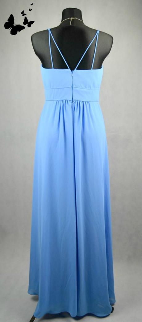 Modré dlouhé společenské šaty na ramínka, 40