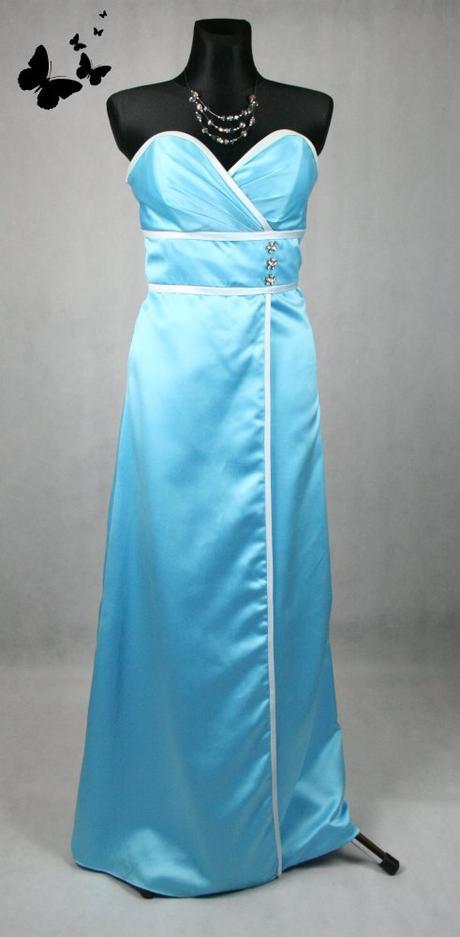 Modré dlouhé společenské šaty vel 38-40, 38