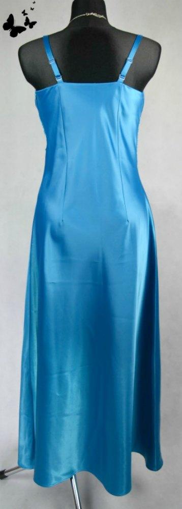 Modré dlouhé společenské šaty vel 42, 42