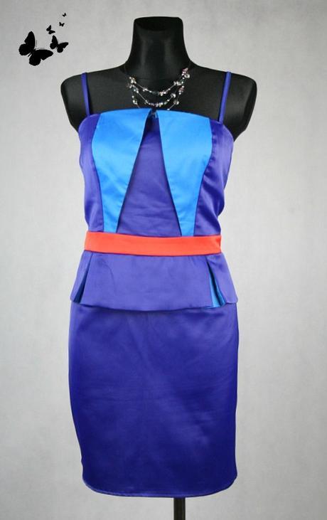 Modré krátké společenské šaty vel 42, 42
