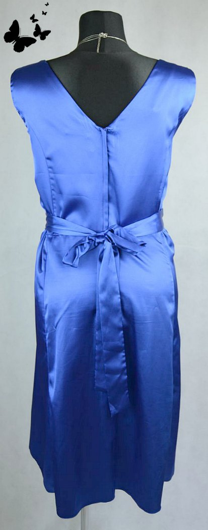 Modré šaty s flitry na ramínka vel 48, 48