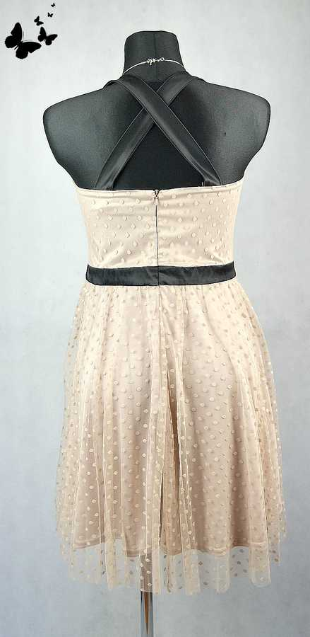 Puntíkované koktejlové šaty Love Label vel 38-40, 38