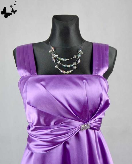 Quiz saténové fialové šaty vel 46, 46