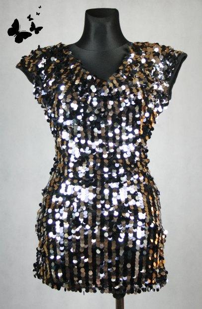 Rare flitrované černé šaty/tunika vel 38, 38