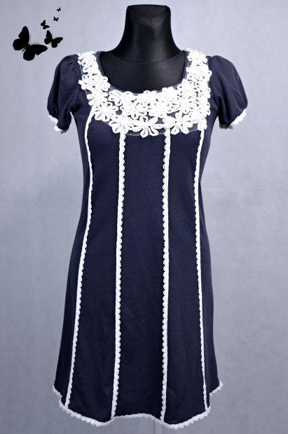 Retro tmavě modré šaty / tunika S/M, 38