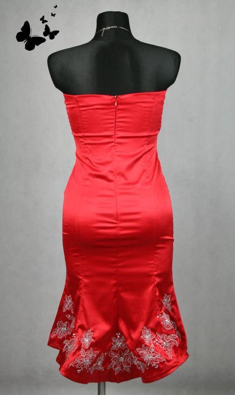 Rudé šaty se stříbrným vyšíváním vel 38, 38