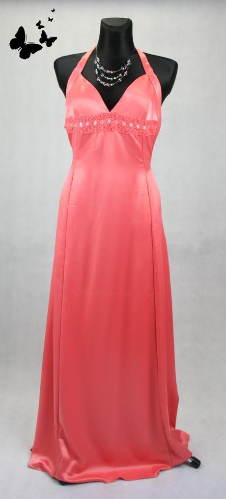 Růžové dlouhé šaty s volnými zády vel 38, 38