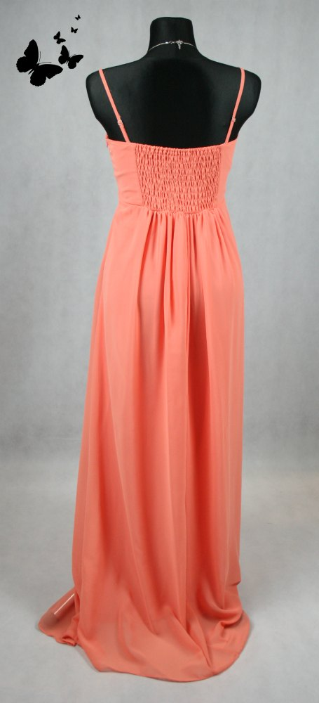 Růžové dlouhé společenské šaty na ramínka vel 44, 44