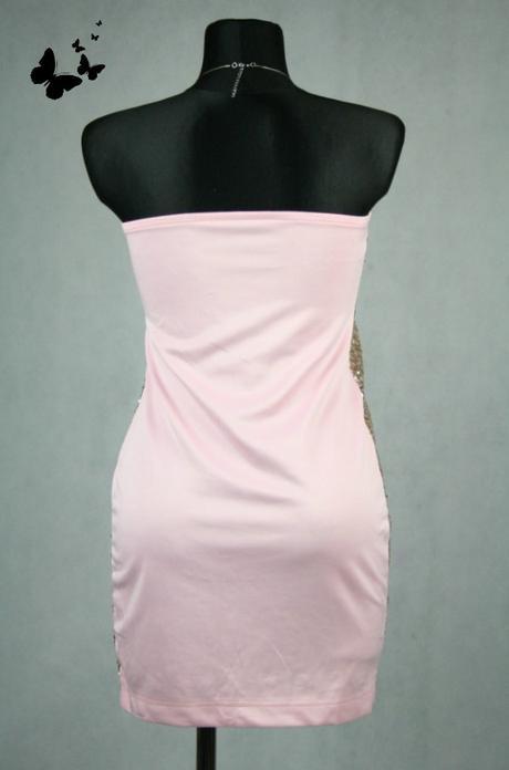 Růžové šaty se zlatými flitry vel 38, 38