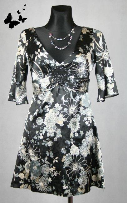 Saténové černo-bílé Jane Norman šaty vel 38, 38