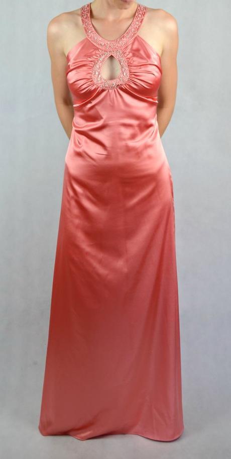 Saténové růžové dlouhé šaty vel 36-38, 38