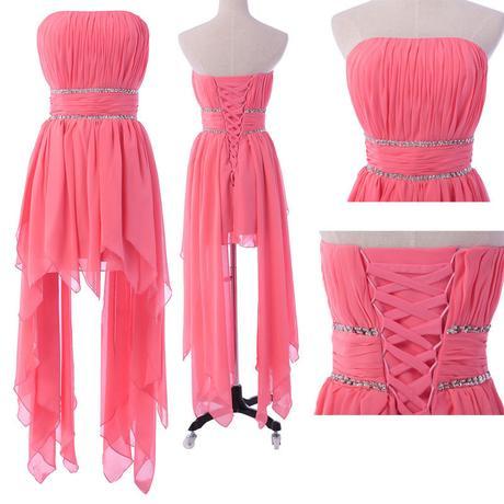 Společenské asymetrické růžové šaty vel 36 - 38, 38