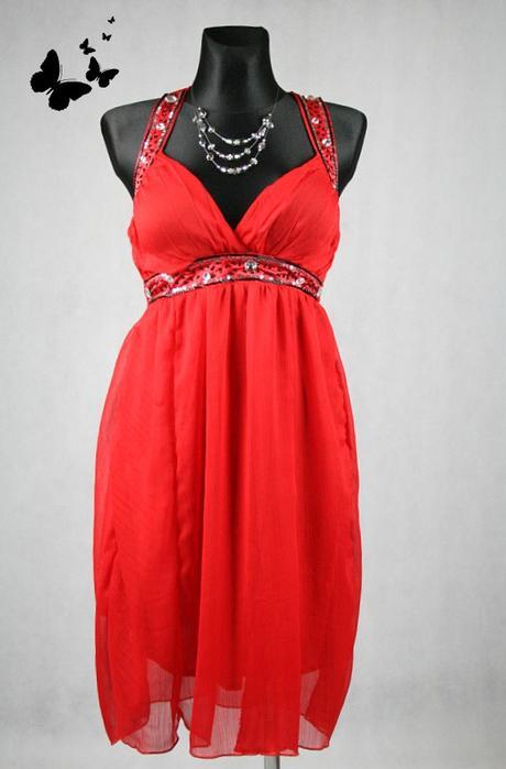 Společenské červené šaty se zavazováním za krkem v, 38